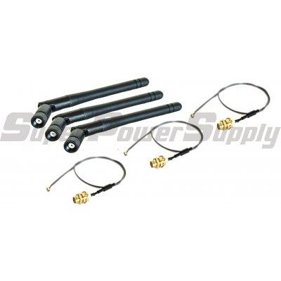 Super Power Supply® 3 2dBi 2.4GHz 5GHz Dual Band RP-SMA Antenna + 3 U.Fl Cable Mod Kit Linksys EA6700