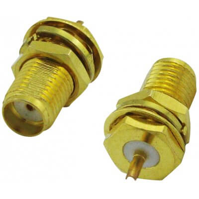 Super Power Supply® SMA Female Plug Center Nut Bulkhead Crimp Solder for RG178 RG196 LMR1000 Cable Adapter RF Connector