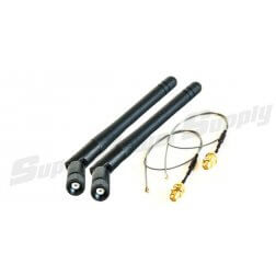 Super Power Supply® 2 x 2dBi RP-SMA Dual Band 2.4GHz 5GHz + 2 x 8in / 20cm U.fl / IPEX Cable Antenna Mod Kit