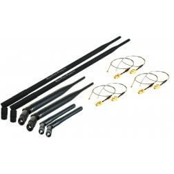 Super Power Supply® 2 x 2dBi + 2 x 6dBi + 2 x 9dBi RP-SMA Dual Band 2.4GHz 5GHz + 6 x 8in / 20cm U.fl / IPEX Cable Antenna Mod Kit