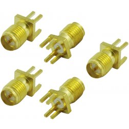 Super Power Supply® 5 Pack - Edge PCB Mount Board Receptacle RP-SMA Female Straight Connector Adapter Coax Coaxial